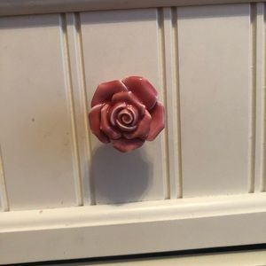 8 pc Pink Rose porcelain dresser knobs